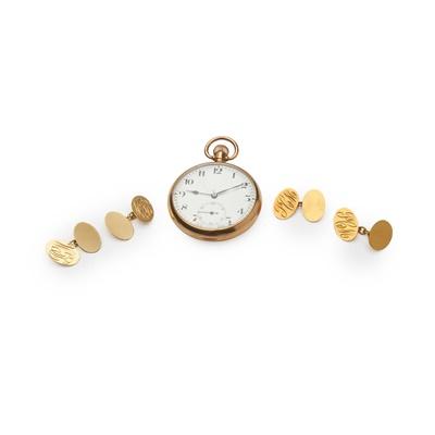 Lot 159 - A pair of 18ct gold cufflinks