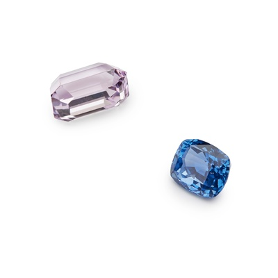 Lot 53 - An unheated blue sapphire and various loose gemstones