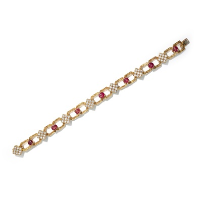 Lot 18 - A ruby and diamond-set necklace, bracelet and pair of earrings, by M. Gerard, 1970s