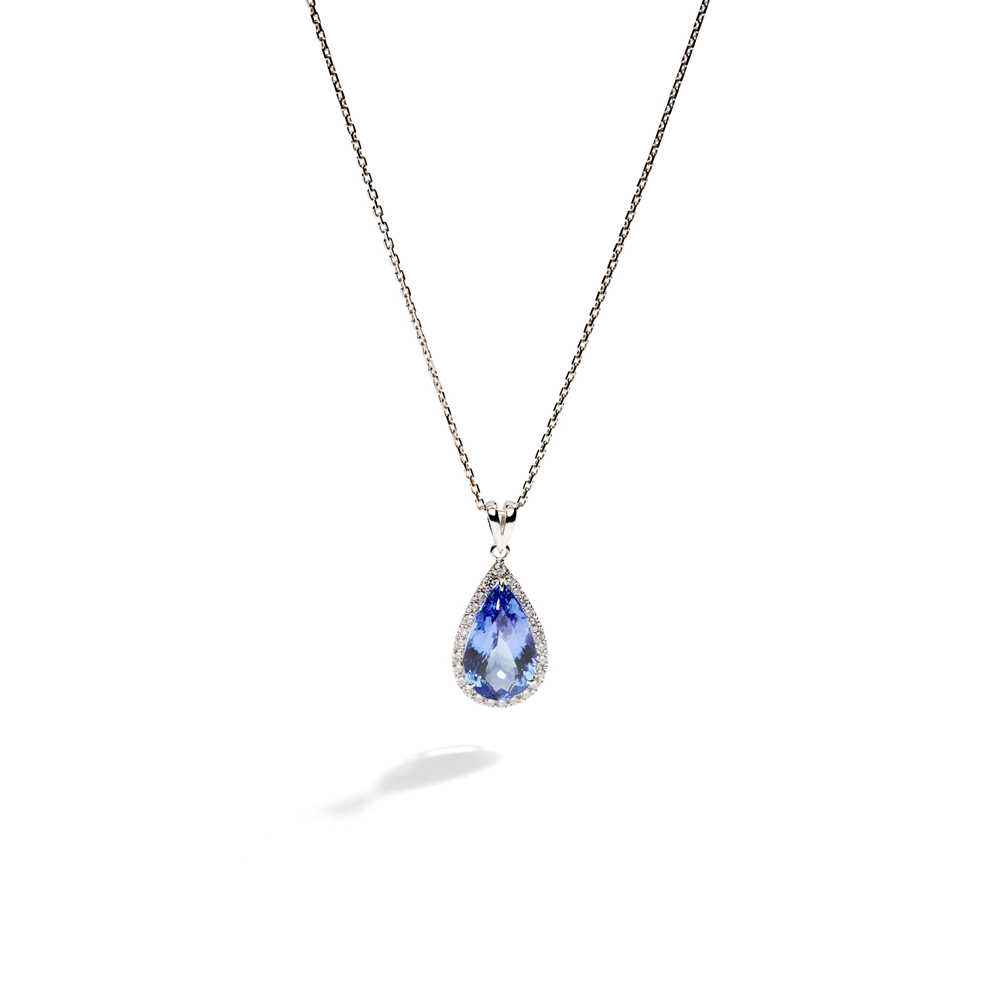 Lot 45 - A tanzanite and diamond pendant
