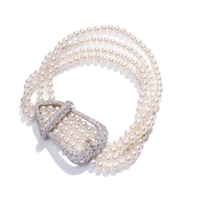 Lot 99 - A cultured pearl and diamond bracelet, by Tiffany & Co.
