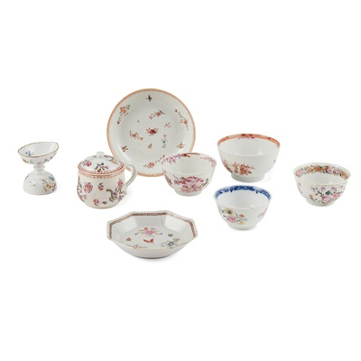 Lot 181 - GROUP OF EIGHT EXPORT FAMILLE ROSE WARES