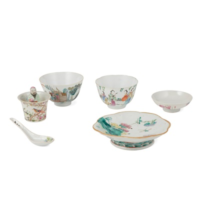 Lot 185 - GROUP OF SIX FAMILLE ROSE WARES