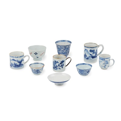 Lot 143 - GROUP OF NINE BLUE AND WHITE WARES