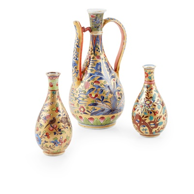 Lot 108 - GROUP OF THREE 'CLOBBERED' WARES