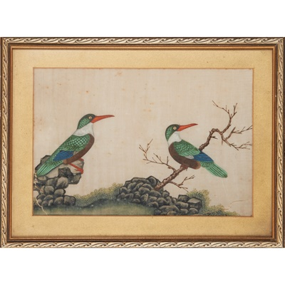 Lot 74 - GROUP OF FOUR PITH PAINTINGS