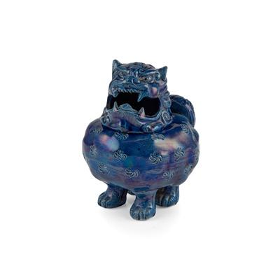Lot 217 - BLUE-GLAZED CENSER OF A MYTHICAL BEAST