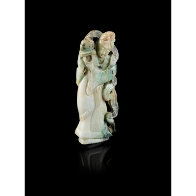 Lot 65 - JADEITE CARVING OF A LADY