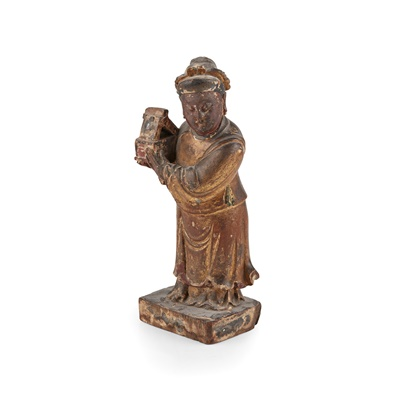 Lot 10 - GILT-LACQUERED WOODEN FIGURE OF A DAOIST IMMORTAL