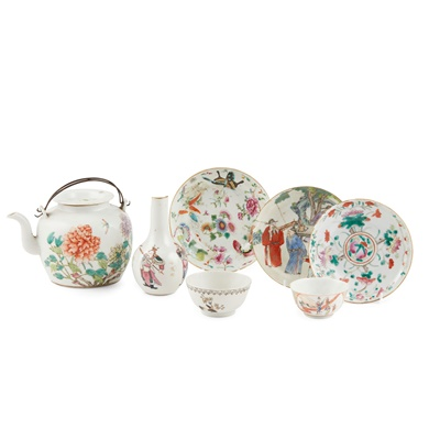 Lot 161 - GROUP OF SEVEN FAMILLE ROSE WARES