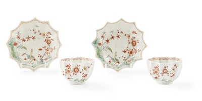 Lot 97 - A PAIR OF RARE WORCESTER TEABOWLS AND SAUCERS