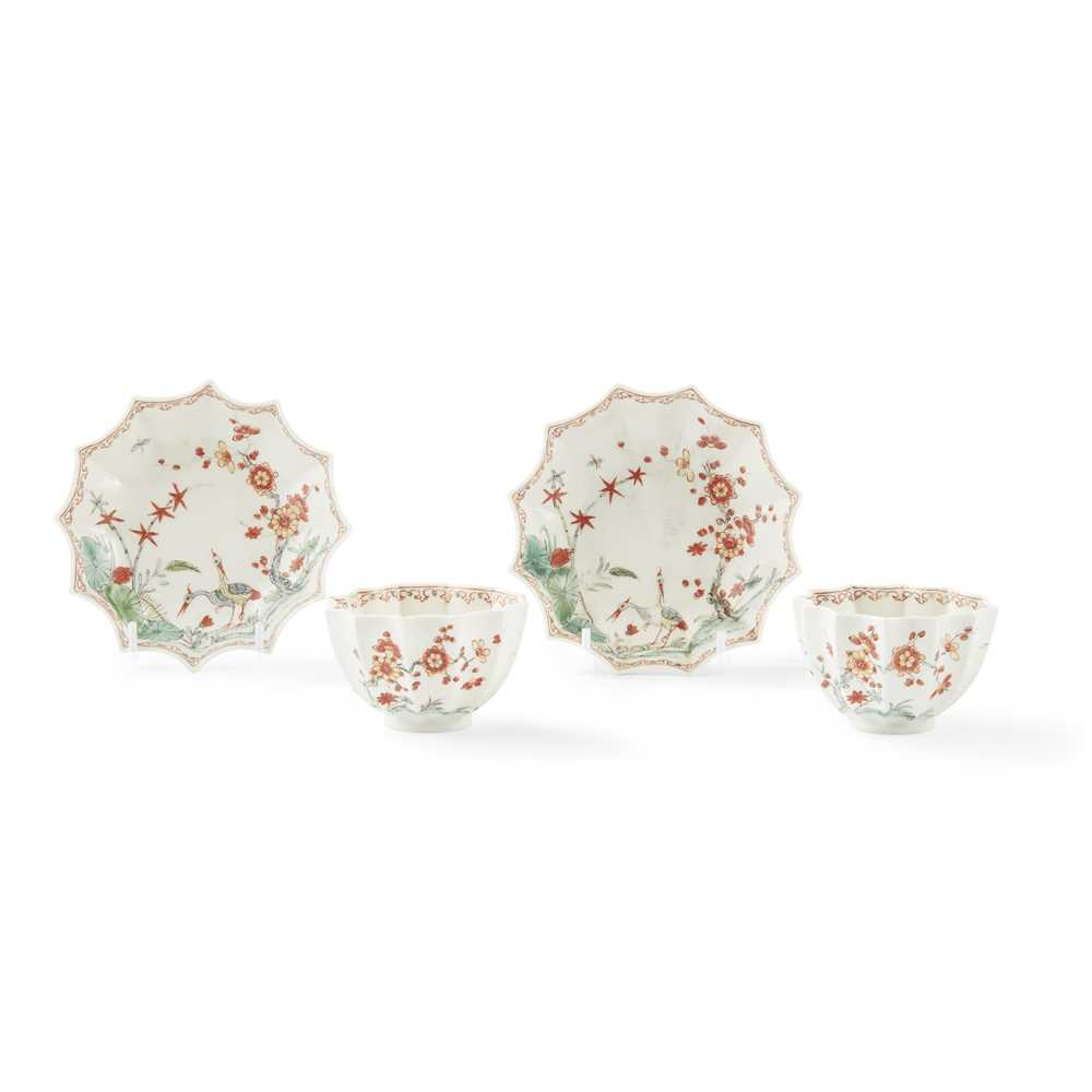 Lot 98 - A PAIR OF RARE WORCESTER TEABOWLS AND SAUCERS