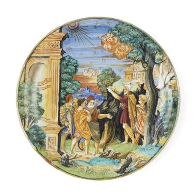 Lot 65 - AN ITALIAN [GUBBIO] ISTORIATO MAIOLICA LUSTRED DISH FROM THE WORKSHOP OF MAESTRO GIORGIO ANDREOLI, EARLY 1530S