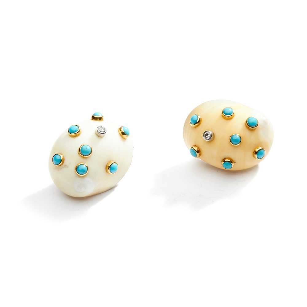 Lot 89 - A pair of gem-set 'Supershell' earrings, by Andrew Grima, 1972