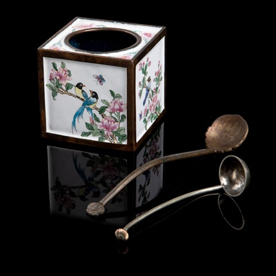 Lot 45 - CANTON ENAMEL SQUARE WATER POT WITH TWO METAL SPOONS