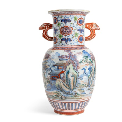 Lot 214 - ORIENTAL BLUE AND WHITE WITH POLYCHROME VASE