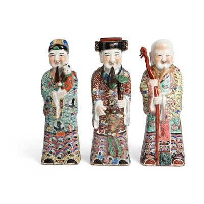 Lot 190 - LARGE GROUP OF THREE FAMILLE ROSE FIGURES OF 'SANXING' IMMORTALS