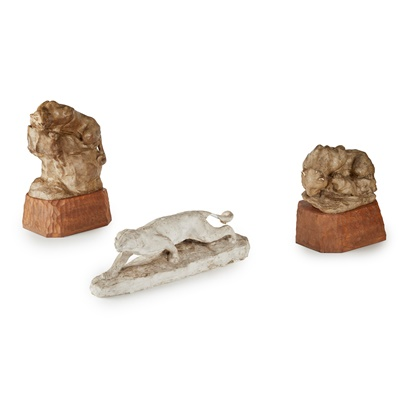 Lot 72 - THREE PLASTER MAQUETTES OF WILD CATS