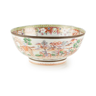 Lot 53 - TWO CHINESE EXPORT PORCELAIN PUNCH BOWLS