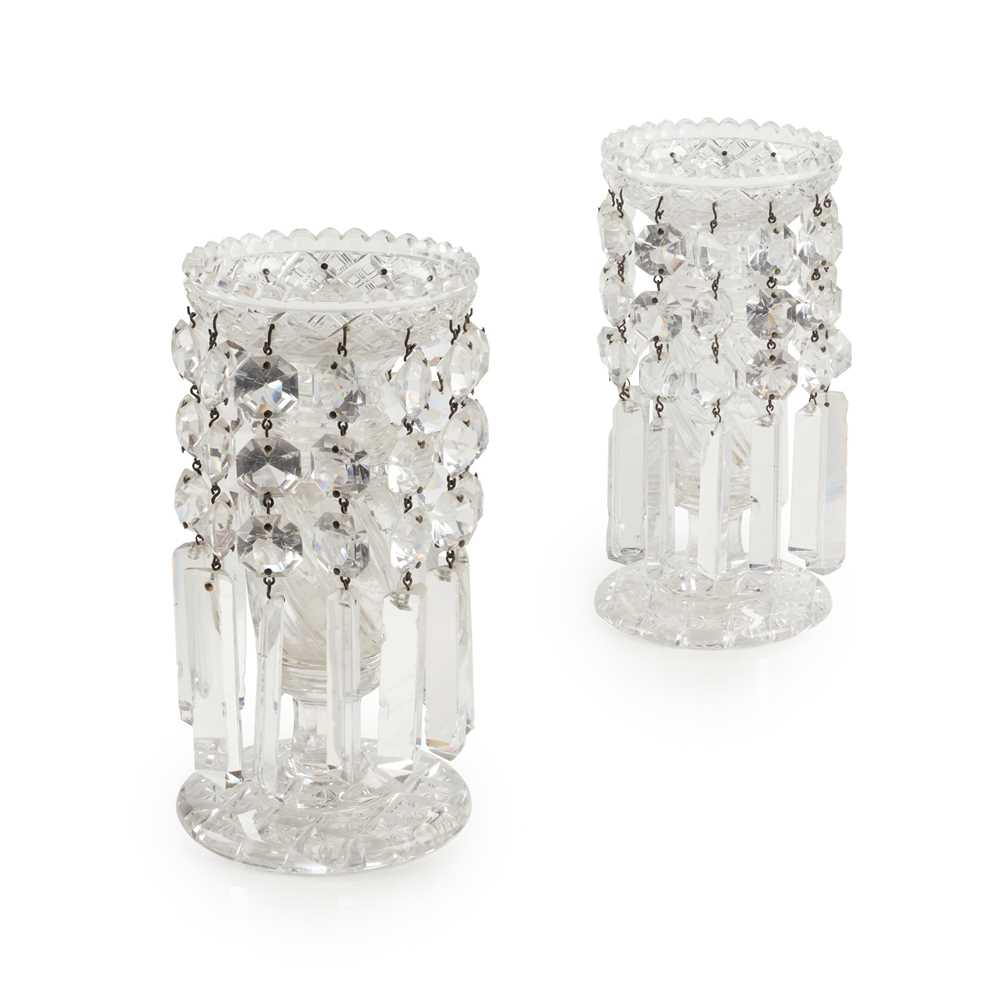 Lot 59 - A PAIR OF CUT GLASS CANDLE LUSTRES