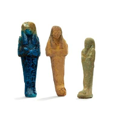 Lot 114 - THREE ANCIENT EGYPTIAN USHABTIS