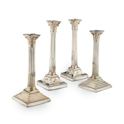 Lot 188 - A PAIR OF GEORGE III SHEFFIELD PLATE TABLE CANDLESTICKS