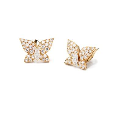 Lot 129 - A pair of diamond butterfly earrings, by Van Cleef & Arpels