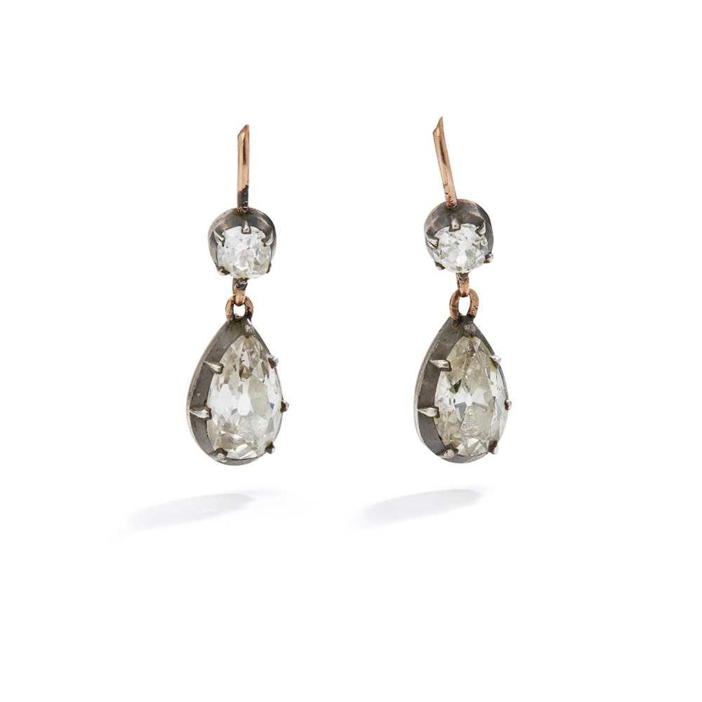 Lot 1 - A pair of mid 19th century diamond earrings