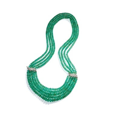 Lot 58 - An emerald and diamond bead necklace