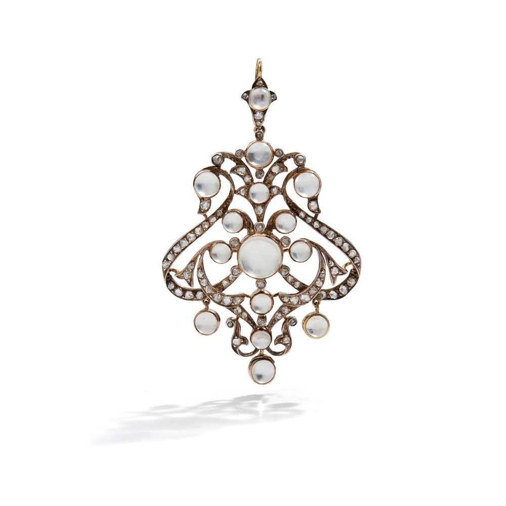 Lot 2 - A late 19th century moonstone and diamond pendant
