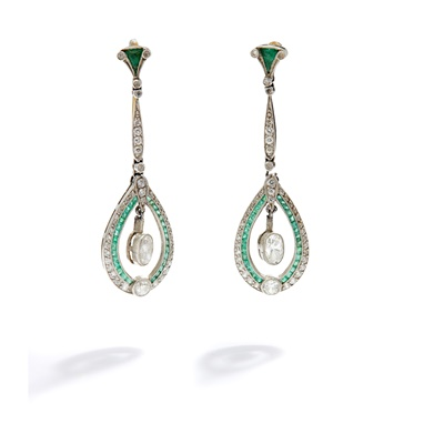 Lot 8 - A pair of early 20th century emerald and diamond pendent earrings, circa 1910