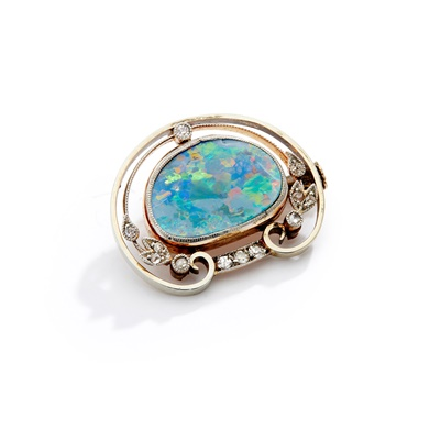 Lot 61 - An Arts & Crafts opal and diamond brooch, by Liberty, attributed to Jessie M King, circa 1905