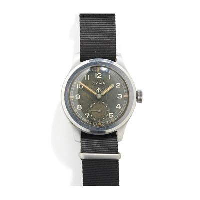 Lot 155 - Cyma: a 'Dirty Dozen' military issue wrist watch