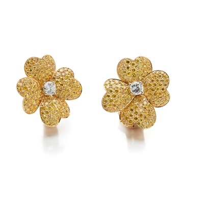 Lot 127 - A pair of diamond and coloured diamond 'Cosmos' earrings, by Van Cleef & Arpels