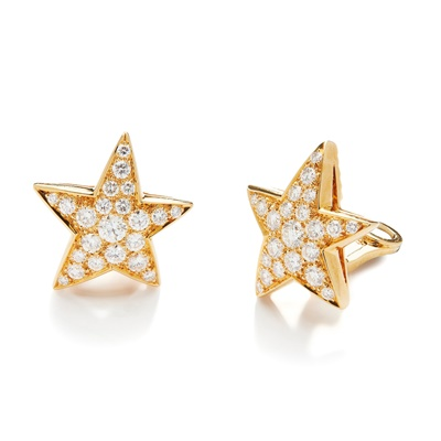 Lot 119 - A pair of diamond 'Comete' earrings, by Chanel