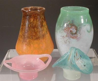 Lot 7 - A Monart tapering glass vase, in mottled...