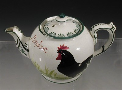 Lot 79 - A Wemyss 'Cockerel' teapot and cover, painted...