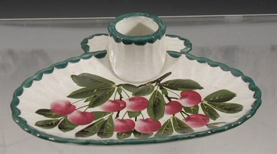 Lot 101 - A Wemyss 'Cherries' inkstand, the broad oval...
