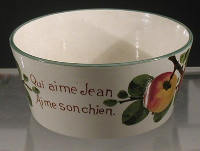 Lot 89 - A Wemyss 'Apples' dog bowl, of tapering...