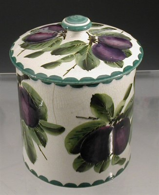Lot 99 - A Wemyss 'Plums' biscuit barrel and cover, of...
