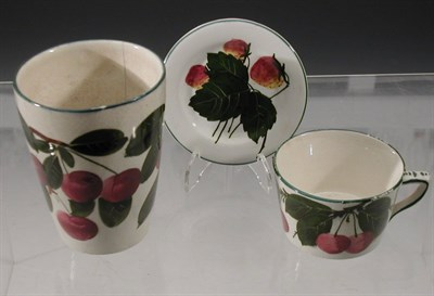 Lot 75 - A Wemyss 'Cherries' beaker, painted with...