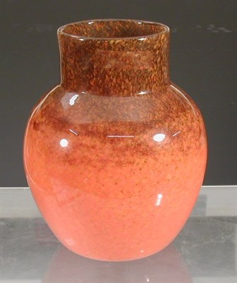 Lot 5 - A Monart ovoid glass vase, with cylindrical...