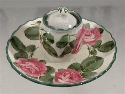 Lot 97 - A Wemyss 'Roses' inkstand, the ovoid well with...
