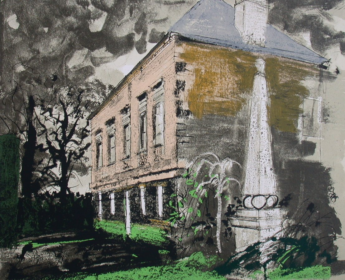 Lot 103 - JOHN PIPER PALAZZO FACADE WITH OBELISK Signed...