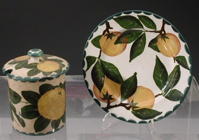 Lot 64 - A Wemyss 'Oranges' preserve jar and cover,...