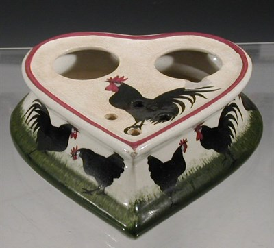 Lot 78 - A Wemyss 'Black Cock and Hens' heart-shaped...