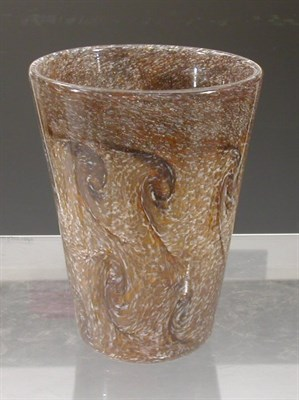 Lot 27 - A Vasart glass vase, of tapered cylindrical...