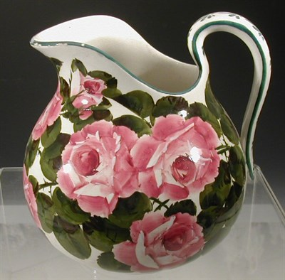 Lot 70 - A Wemyss 'Roses' ewer, of ovoid form painted...