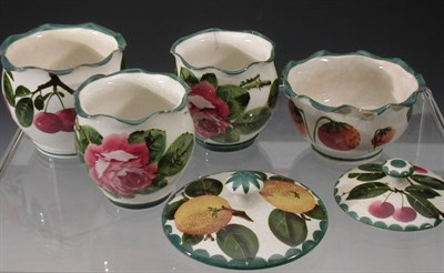 Lot 68 - A pair of Wemyss 'Roses' small cache pots,...
