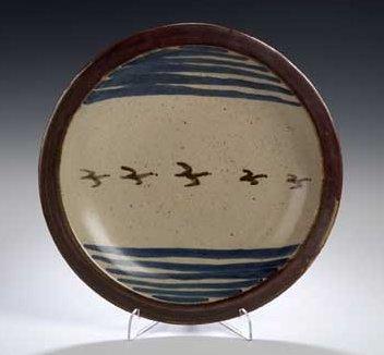 Lot 308 - A Bernard Leach stoneware circular platter,...